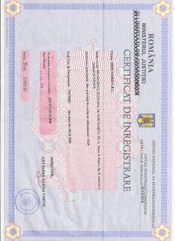 Certificat de Inregistrere Registul Comertului
